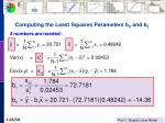 computing the least squares parameters b 0 and b 1