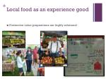 local food as an experience good