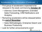 accelerators key information continued
