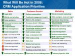 what will be hot in 2008 crm application priorities