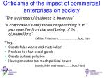 criticisms of the impact of commercial enterprises on society