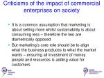 criticisms of the impact of commercial enterprises on society1