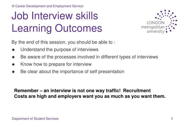 job interview skills learning outcomes n.