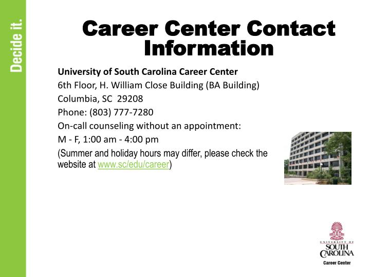 Career Center Contact Information