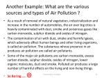 another example what are the various sources and types of air pollution