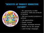 benefits of product marketing exports