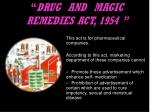 drug and magic remedies act 1954