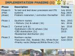 implementation phasing 1