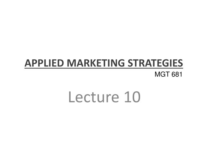 applied marketing strategies n.