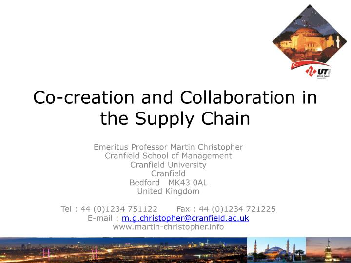 co creation and collaboration in the supply chain n.