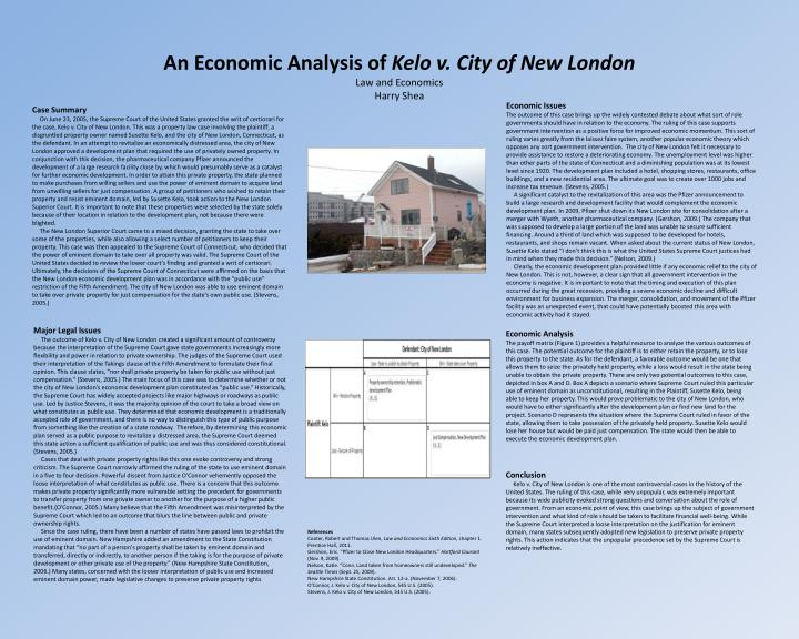 an economic analysis of kelo v city of new london law and economics harry shea n.