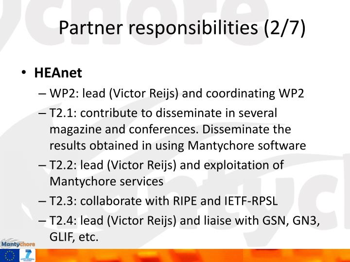 Partner responsibilities (2/7)