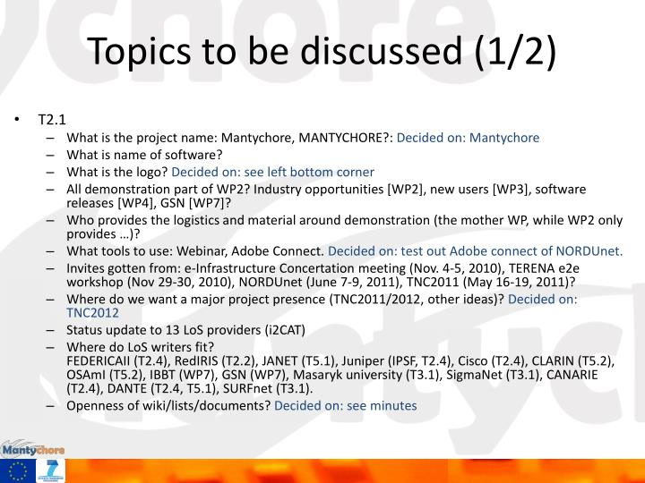 Topics to be discussed (1/2)