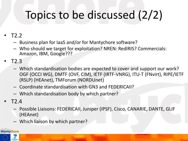 Topics to be discussed (2/2)