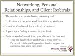 networking personal relationships and client referrals