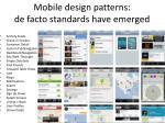 mobile design patterns de facto standards have emerged