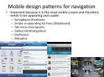 mobile design patterns for navigation