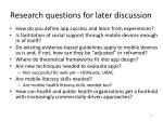 research questions for later discussion