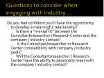 questions to consider when engaging with industry2