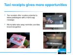 taxi receipts gives more opportunities