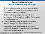 computing technologies distributed computing paradigm