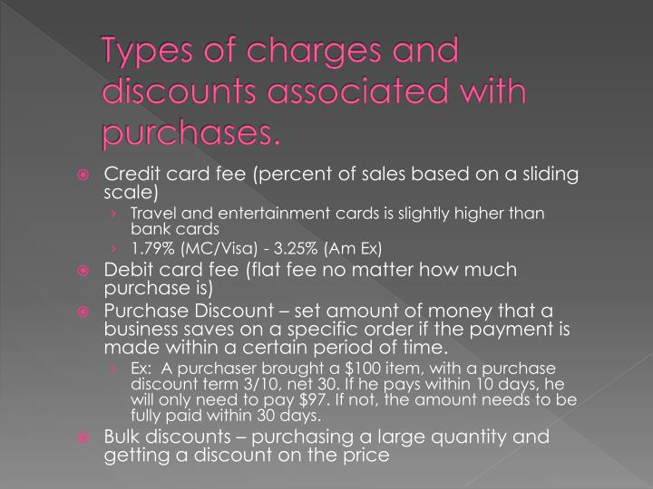 Types of charges and discounts associated with purchases