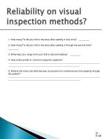 reliability on visual inspection methods