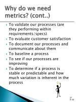 why do we need metrics cont