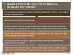 1 major payer s criteria for commercial bundling partnership