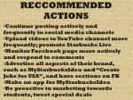 reccommended actions