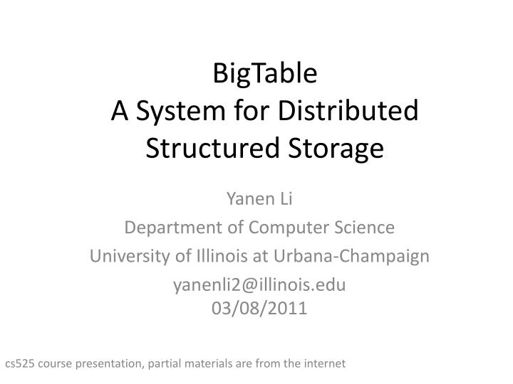 bigtable a system for distributed structured storage n.