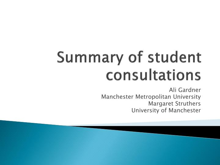 summary of student consultations n.