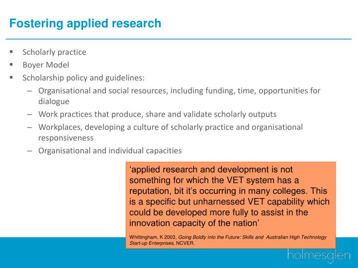 Fostering applied research