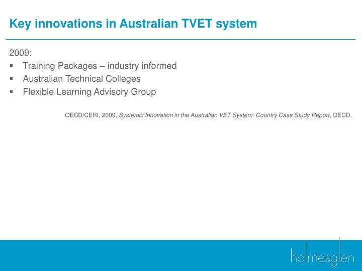 Key innovations in Australian TVET system