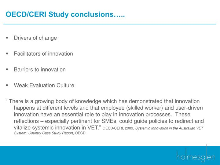 OECD/CERI Study conclusions…..