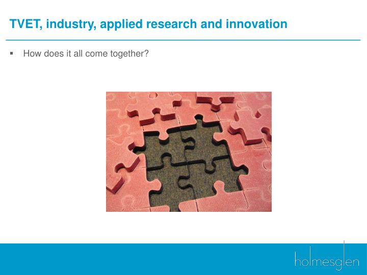 TVET, industry, applied research and innovation
