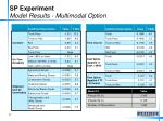 sp experiment model results multimodal option
