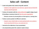 sales call content