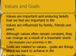 values and goals
