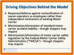 driving objectives behind the model