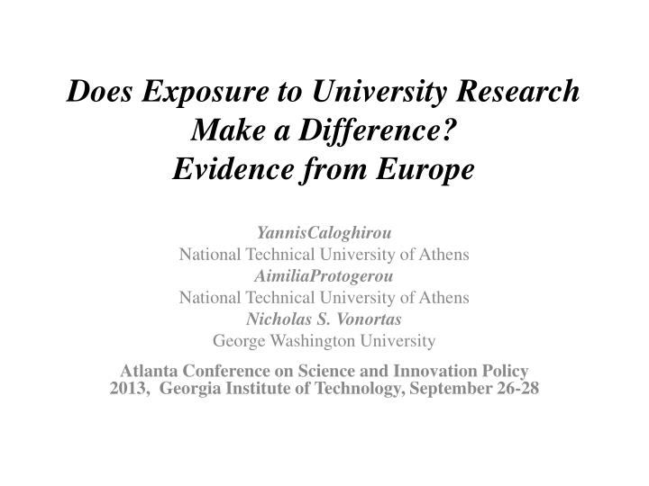 does exposure to university research make a difference evidence from europe n.
