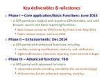 key deliverables milestones