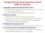 the agreement on government procurement gpa an overview