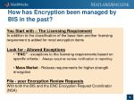 how has encryption been managed by bis in the past