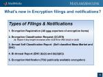 what s new in encryption filings and notifications