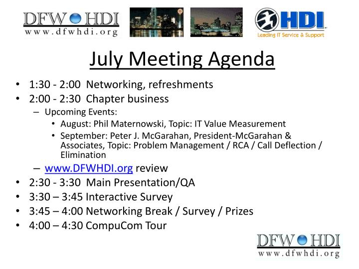 july meeting agenda n.