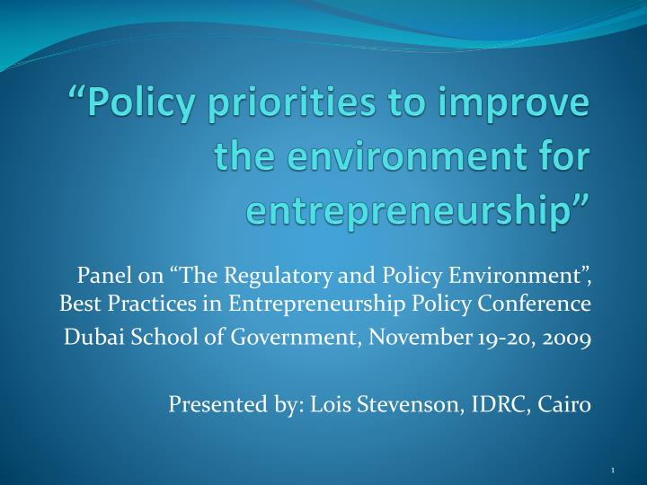 policy priorities to improve the environment for entrepreneurship n.
