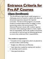 entrance criteria for pre ap courses