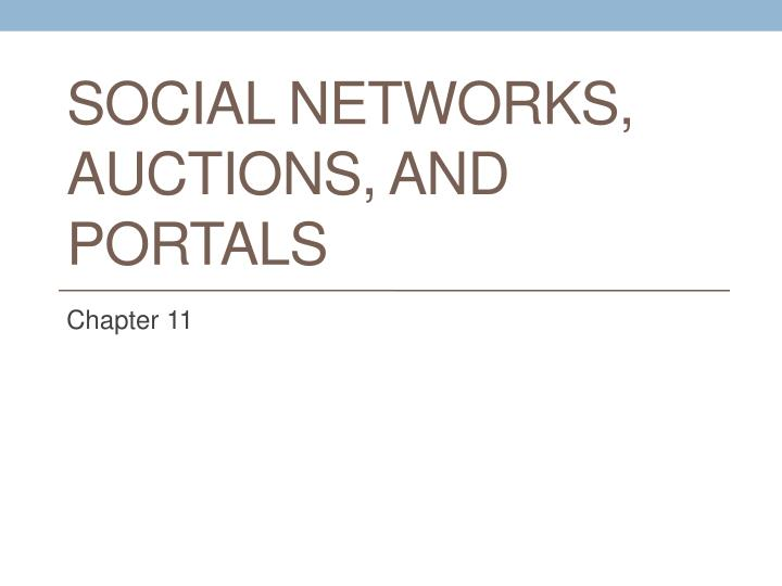 social networks auctions and portals n.