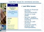 last mile issues for remittance services